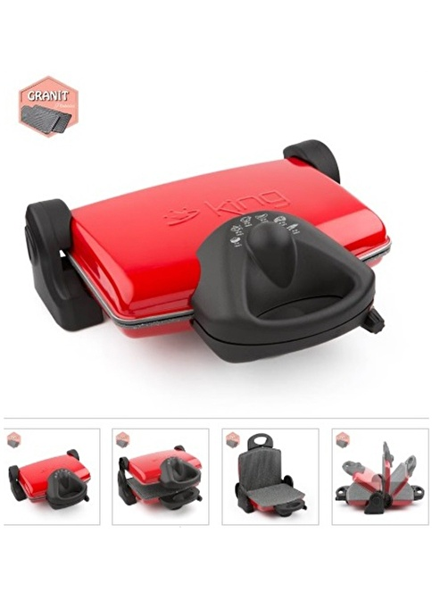 King Granit Izgara Ve Tost Makinesi Kırmızı